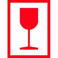 Výstražná etiketa - Sklo (červené) 74 x 100 mm